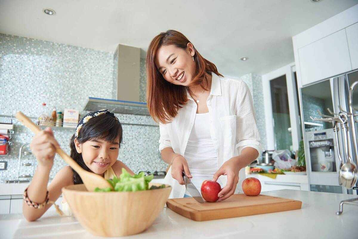 Mom and daughter in the kitchen
